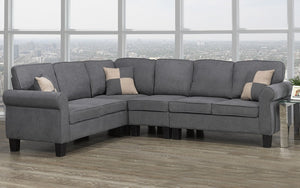 Fabric Sectional with Love Seat - Grey