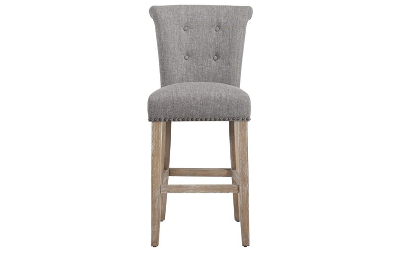 Groovy Bar Stool With Fabric High Back Dark Legs Beige Grey Pabps2019 Chair Design Images Pabps2019Com