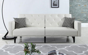 Leather Sofa Bed with Arm Rest - White