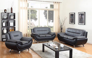Sofa Set - 3 Piece - Black & Grey