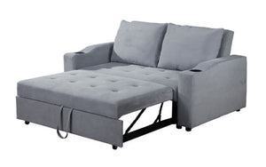 Fabric Sofa Bed with Cup Holders - Light Grey
