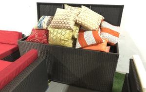 Outdoor Or Indoor Wicker Storage Box - Dark Brown