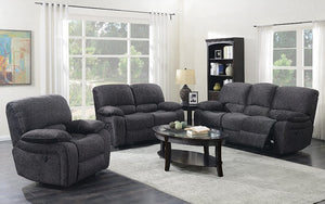 Recliner Set - 3 Piece with Velvet Fabric - Midnight Grey