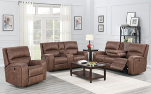 Power Recliner Set - 3 Piece with Air Suede Fabric - Cognac