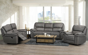 Recliner Set - 3 Piece with Micro Suede Fabric - Smoke