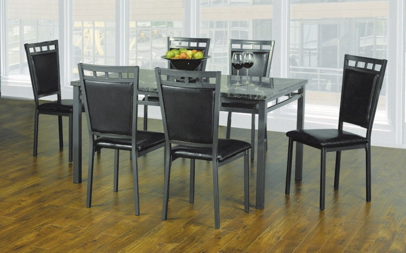 Kitchen Set with Marble Top - 5 pc or 7 pc - Espresso | Gun Metal Grey