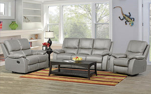 Recliner Set - 3 Piece with Genuine Leather - Light Grey