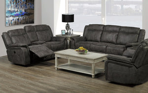 Power Recliner Set - 3 Piece with Air Suede Fabric - Grey