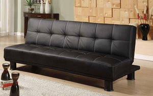 Leather Sofa Bed with Black Legs - Black