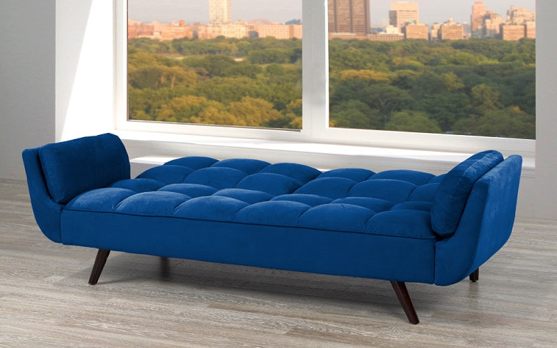 Velvet Fabric Sofa Bed With Arm Rest Royal Blue Furnberry