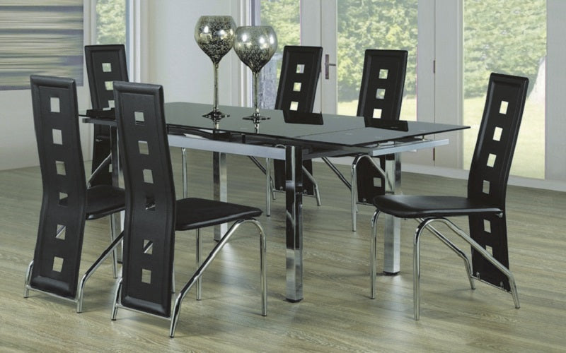 Kitchen Set with Glass Top with Extendable Leafs - 7 pc - Chrome | Black