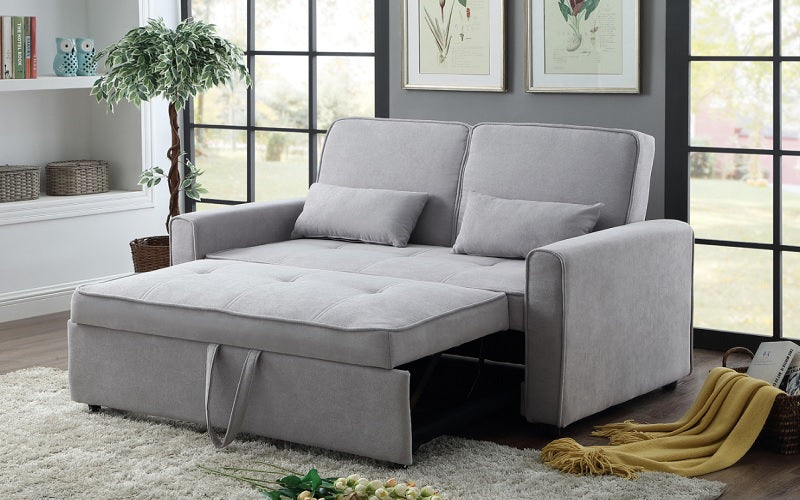 Fabric Sofa Bed with Pillows - Grey