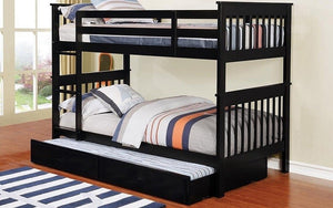 Bunk Bed - Twin over Twin with Trundle Solid Wood - Grey | White | Espresso