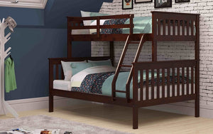 Bunk Bed - Twin over Double with or without Trundle Solid Wood - Espresso