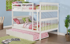 Bunk Bed - Double over Double with Trundle - White | Grey | Espresso