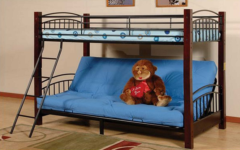 Futon Bunk Bed Twin Over Double With Metal And Wood Black Espres Furnberry