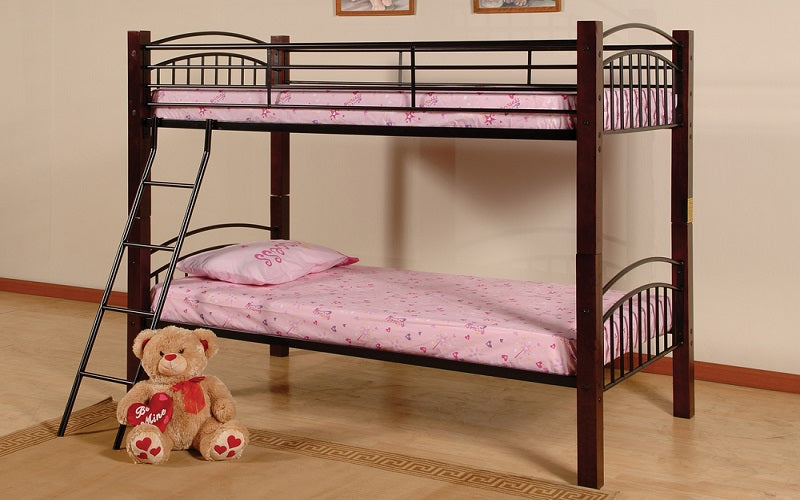 Bunk Bed Twin Over Double With Metal And Wood Black