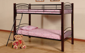 Bunk Bed - Twin over Twin with Metal and Wood - Black & Espresso
