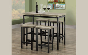 Pub Set with Stools - 5 pc - Distressed Grey | Black