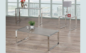 Coffee Table Set with Glass Top - 3 pc - Chrome
