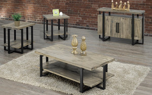 Coffee Table Set with Shelf - 3 pc - Black | Distressed Grey