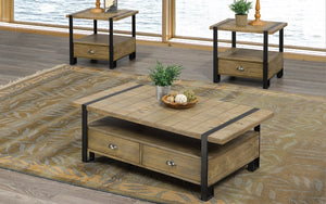 Coffee Table Set with Drawers - 3 pc - Black | Distressed Oak