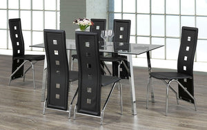 Kitchen Set with Glass Top - 7 pc - Black