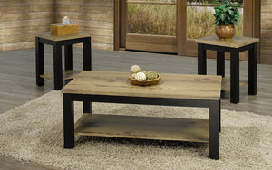 Coffee Table Set with Shelf - 3 pc - Espresso | Distressed Oak
