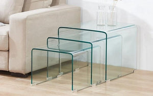 Bent Glass Nesting Table Set - 3 pc
