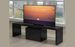 TV Stand with Glass Shelf & Drawer - Black
