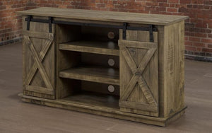 TV Stand with Barn Doors and Shelves - Distressed Grey