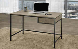 Office Desk with Drawer Metal Legs - Distressed Grey & Black
