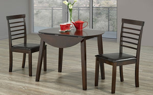 Kitchen Set Solid Wood with Extendable Leafs - 3 pc - Espresso