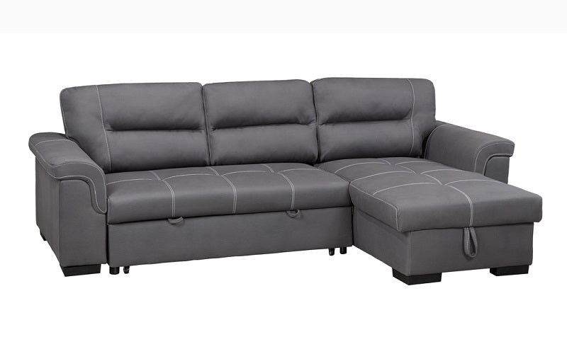 Air Suede Fabric Sectional Sofa Bed with Reversible Chaise - Grey