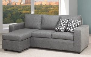 Linen Sectional with Reversible Chaise - Charcoal Graphite Grey