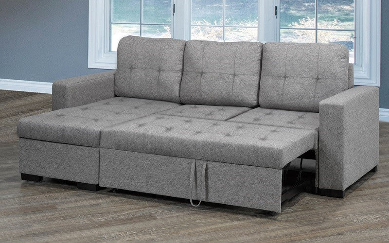 Linen Sectional Sofa Bed with Reversible Chaise - Grey
