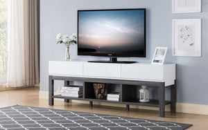 TV Stand with Shelf and Drawers - White | Grey