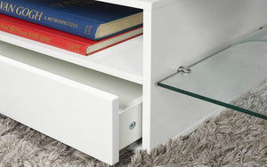 TV Stand with Shelf and Drawer - White