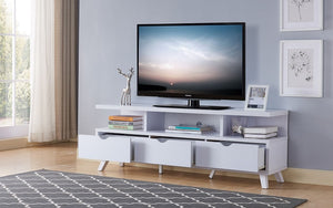 TV Stand with Shelf and Drawers - White