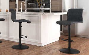 Bar Stool With High Back & 360° Swivel Fabric Seat - Beige | Grey | Blue-Grey - Set of 2 pc