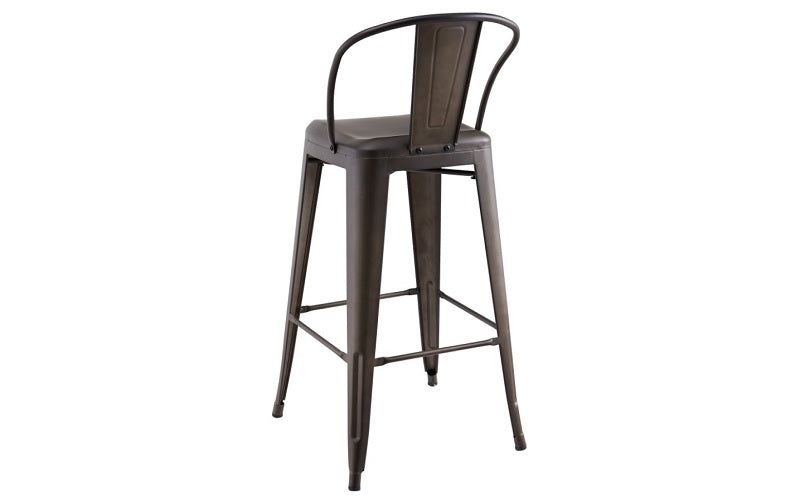 Bar Stool With Metal Frame - Gun Metal Grey