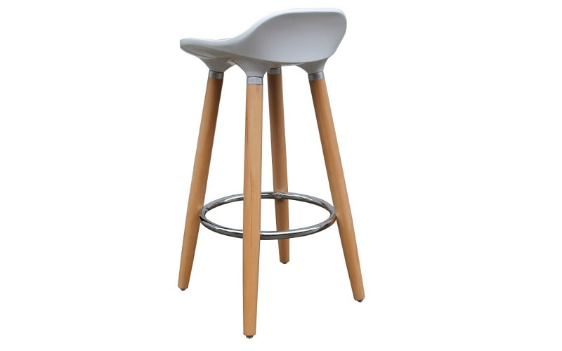 Bar Stool With ABS Seat & Wooden Legs - White | Grey