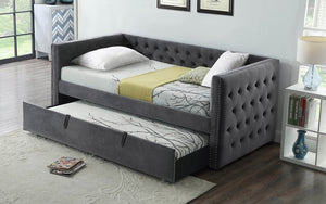 Fabric Day Bed with Nailhead Accents and Twin Trundle - Grey