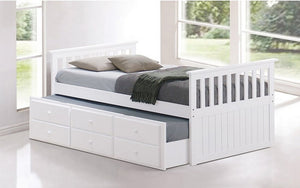 Trundle Bed with Drawers - White