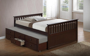 Trundle Bed with Drawers - Espresso