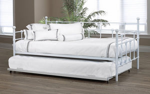 Day Bed with Metal and Twin Trundle - White