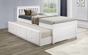 Platform Bed with Trundle - White