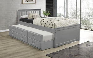 Platform Bed with Trundle - Light Grey
