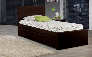 Leather Platform Bed with Storage and Twin Trundle - Espresso