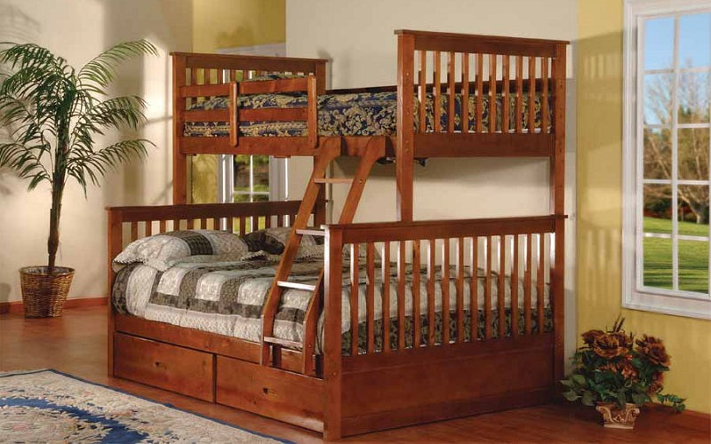 Bunk Bed - Twin over Double Mission Style with or without Drawers Solid Wood - Walnut